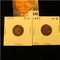 1863 & 1864 Copper-nickel U.S. Indian Head Cents.