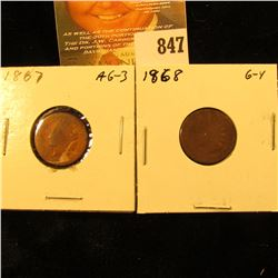 1867 & 1868 U.S. Indian Head Cents.