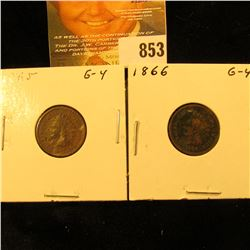1865 & 1866 U.S. Indian Head Cents.