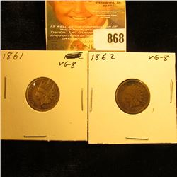 1861 & 1862 U.S. Indian Head Cents. Both VG.
