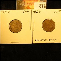 1859 & 1860 U.S. Indian Head Cents.