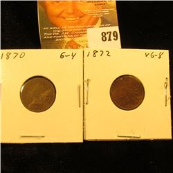 1870 & 1872 U.S. Indian Head Cents.