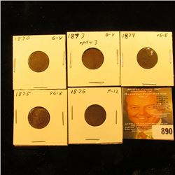 1870, 1873 Open 3, 1874, 1875, & 1876 U.S. Indian Head Cents. Good to Fine.