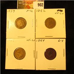 1859 VG-F, 1862 VF, 1863 VF, & 1864 Bronze Good U.S. Indian Head Cents.
