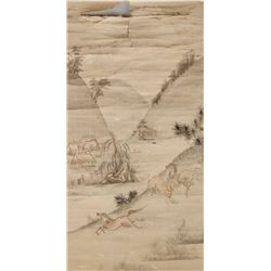 16th-18th C. Chinese Artist Watercolour Scroll
