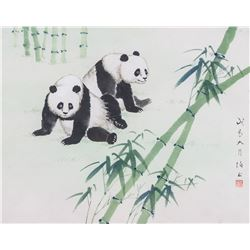 Boyu Chinese Watercolour on Paper Framed Pandas