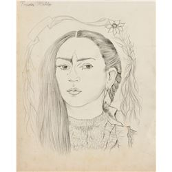 Frida Khalo 1907-1954 Mexican Pencil on Paper