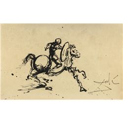 Salvador Dali 1904-1989 Spain Ink Study Knight