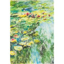 Monet 1840-1926 Tempera & Pastel Lilies in a Pond