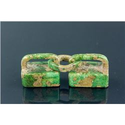 Chinese Green Hardstone Carved Double Seals