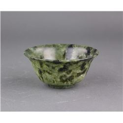 Chinese Green Hetian Jade Carved Bowl