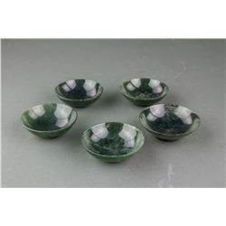 5 PC Chinese Small Hetian Green Jade Cups