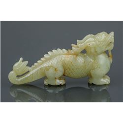 Chinese White Jade Carved Dragon