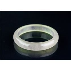 Burma Translucent White Jadeite Carved Bangle