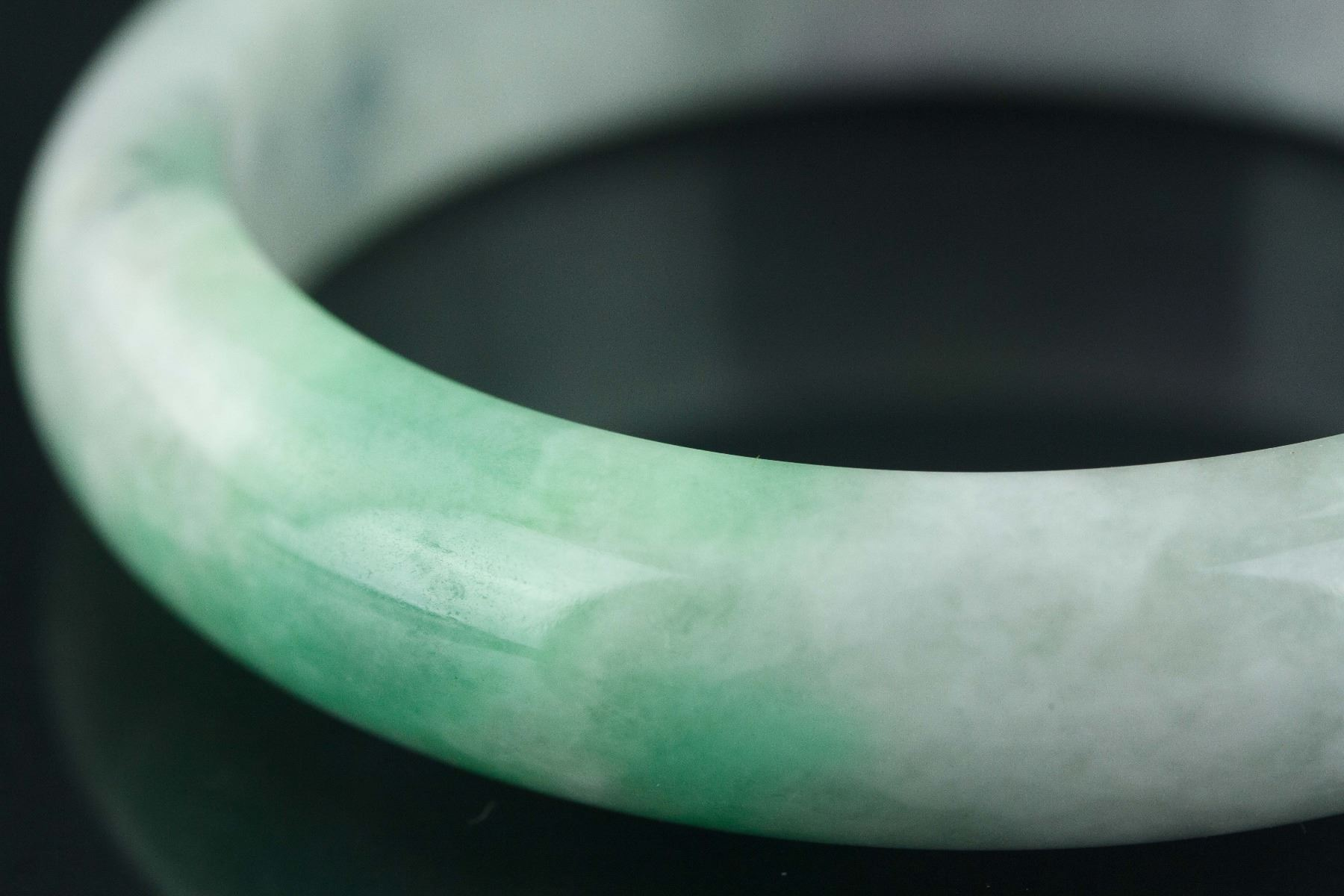 Image 2 Two Color Green Jade Bangle With Certificate