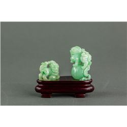 Burma Green Jadeite Carved Lion Statue with Stand