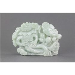 Chinese Green Jadeite Carved Lotus