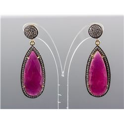 Enhanced Ruby w/Cubic Zirconia Earrings CRV$833