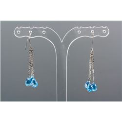 11.00ct Blue Topaz Drop Earrings CRV$1000