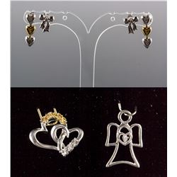 Set of Diamond Earrings & Diamond Pendant