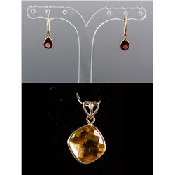 Set of Garnet Earrings & Citrine Pendant