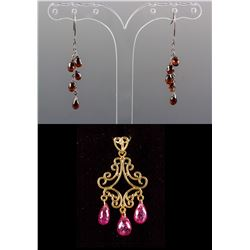 Set of Garnet Earrings & Ruby Pendant