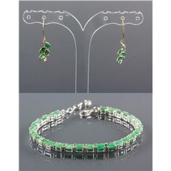 Set of Emerald Earrings & Bracelet CRV $2242