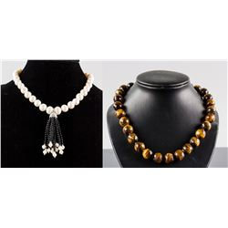 Set of Tiger Eye & Pearl Necklace CRV $1405