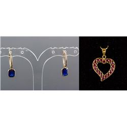 Set of Ruby Pendant & Sapphire Earring