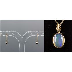 Set of Opal Pendant & Black Diamond Earrings