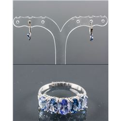 Set of Tanzanite Ring & Sapphire Earrings