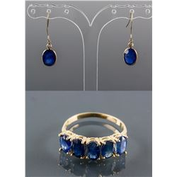 Set of Sapphire Earrings & Sapphire Ring