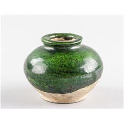 Chinese Small Green Glaze Pottery Jar