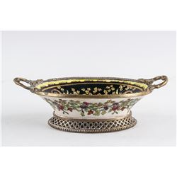 Chinese Export Cloisonne Basket Huarongtang Mark