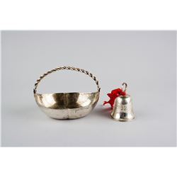 Sterling Silver Basket and Silver Bell