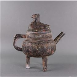 Chinese Large Gilt Bronze Mythical Beast Wine Pot