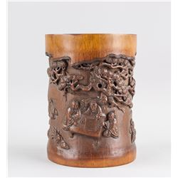 Chinese Bamboo Brush Pot Carved Playing Go Scene