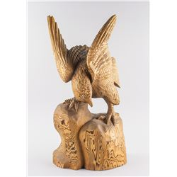 American/Canadian Wood Carved Eagle Statue