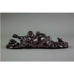 Chinese Fine Wood Carved Happy Buddha Statue