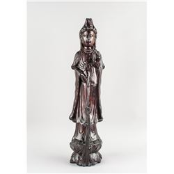 Chinese Zitan Wood Pouring Water Guanyin Statue
