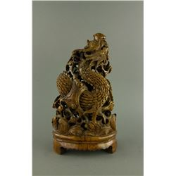 Qing Period Fine Bamboo Dragon Carving