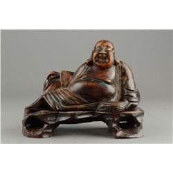 Wood Carved Laughing Buddha with Stand