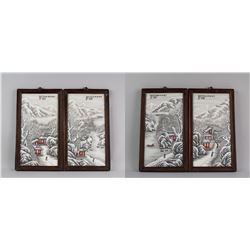 4 PC He Xuren 1882-1940 Porcelain Painting Plaque