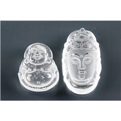Chinese Crystal Happy Buddha and Guanyin Pendants