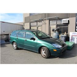 2000 FORD FOCUS SE - 4 DOOR - GREEN - AUTOMATIC - VIN# 1FAFP3637YW344352 - GASOLINE- 183,356 KMS -