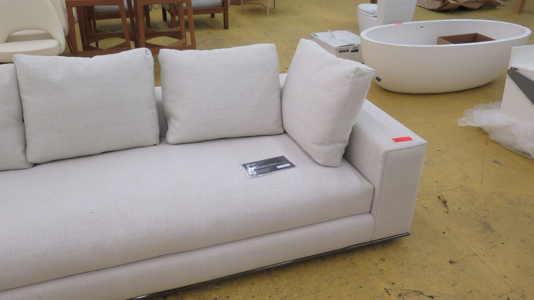 WhiteBeige Woven Minotti Sectional Sofa 2 Sections 143 Combined