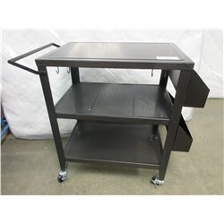 3 TIER WITH 2 SIDE ORGANIZER ROLLING BBQ CART 20X30X36""