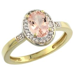 Natural 0.75 ctw Morganite & Diamond Engagement Ring 14K Yellow Gold - REF-33F7N