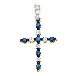 0.25 CTW Blue Color Diamond Cross Pendant 10KT Yellow Gold - REF-13H4M