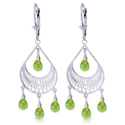 Genuine 6.75 ctw Peridot Earrings Jewelry 14KT White Gold - REF-62V6W